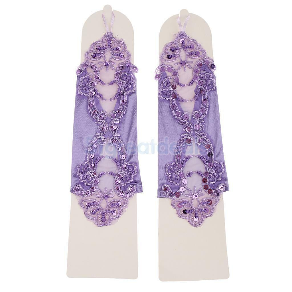 PURPLE Bridal/Prom/Satin Lace Fingerless Gloves Fancy Wedding Party Accessories