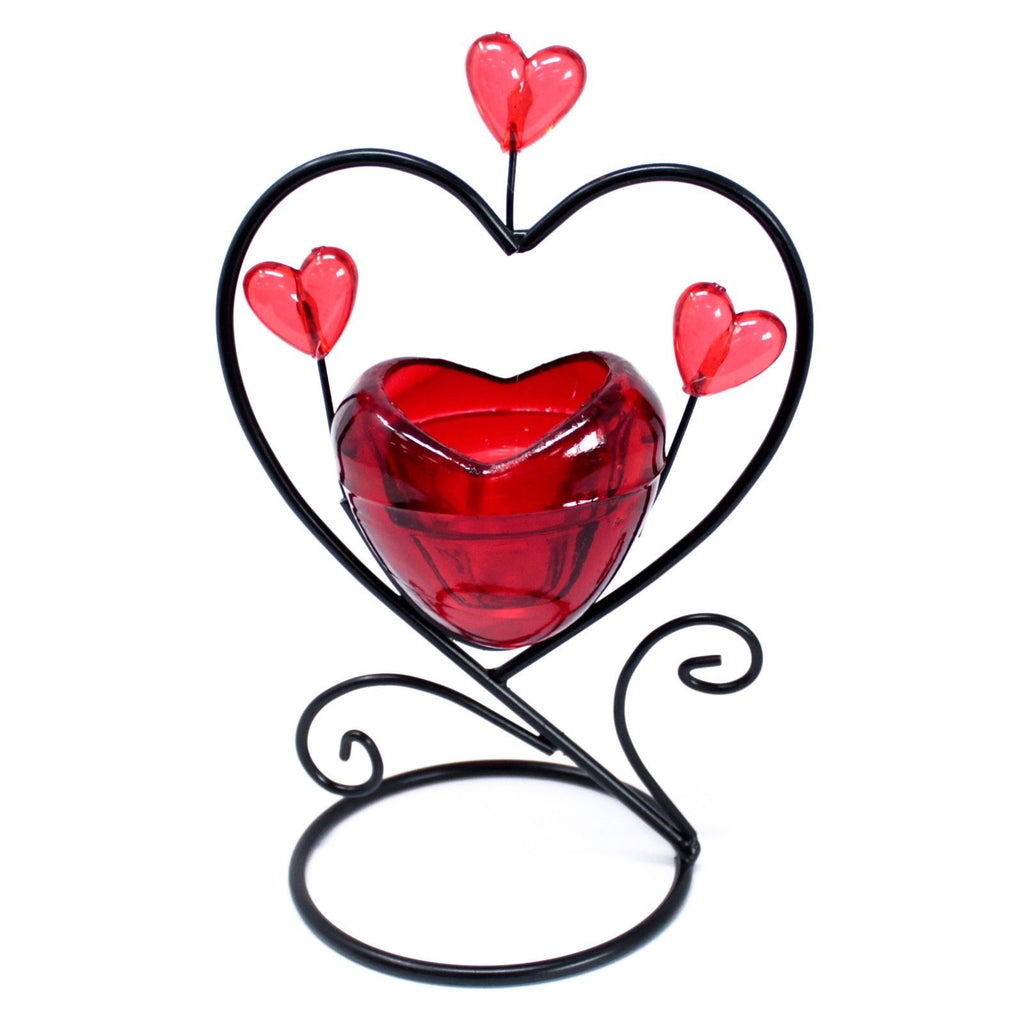 glass Romantic /tealight/Candleholder/ - Single.Heart in heart perfect gift item
