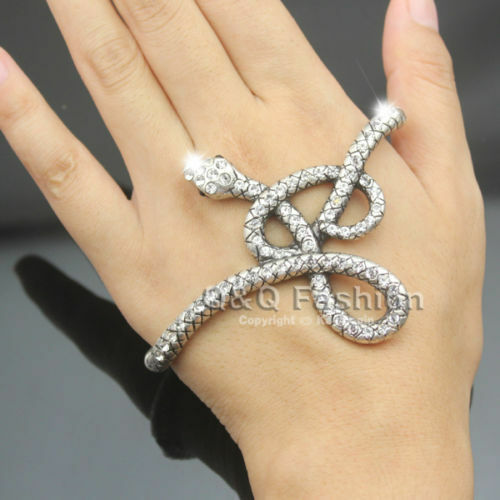 Egyptian Retro Silver Snake Crystal Hand Palm Stretch Bracelet Bangle Cuff