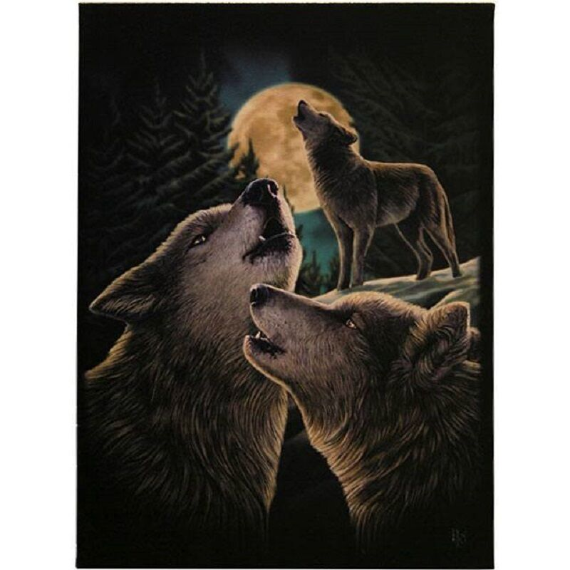 PAGAN/WICCAN/NEW AGE Wolf Song canvas-Lisa Parker H:25.40cm xW:19.30cm xD:1.20cm