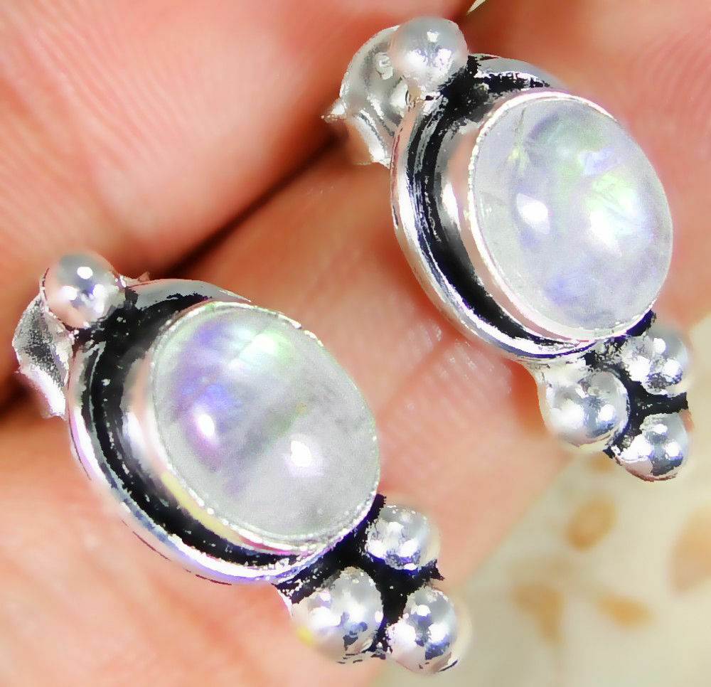 Rainbow Moonstone & 925 Silver Handmade Lovely Earrings 18mm & gift-box