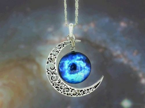 funky New Galactic Universe Tone Crescent MoonNecklace Nebula Star Charm Pendant