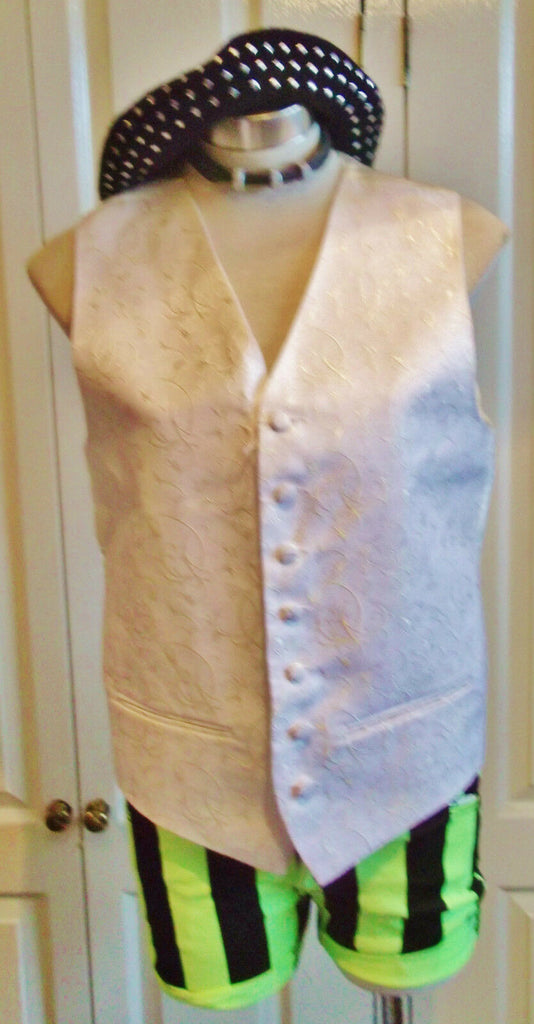 STEAMPUNKcream Vintage Waistcoat.satin back,embroidered fabric,linED.size38