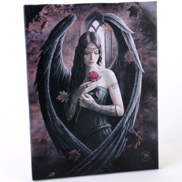PAGAN/WICCAN/NEW AGE Angel rose canvas by Anne Stokes.20cm wide X  26cm long