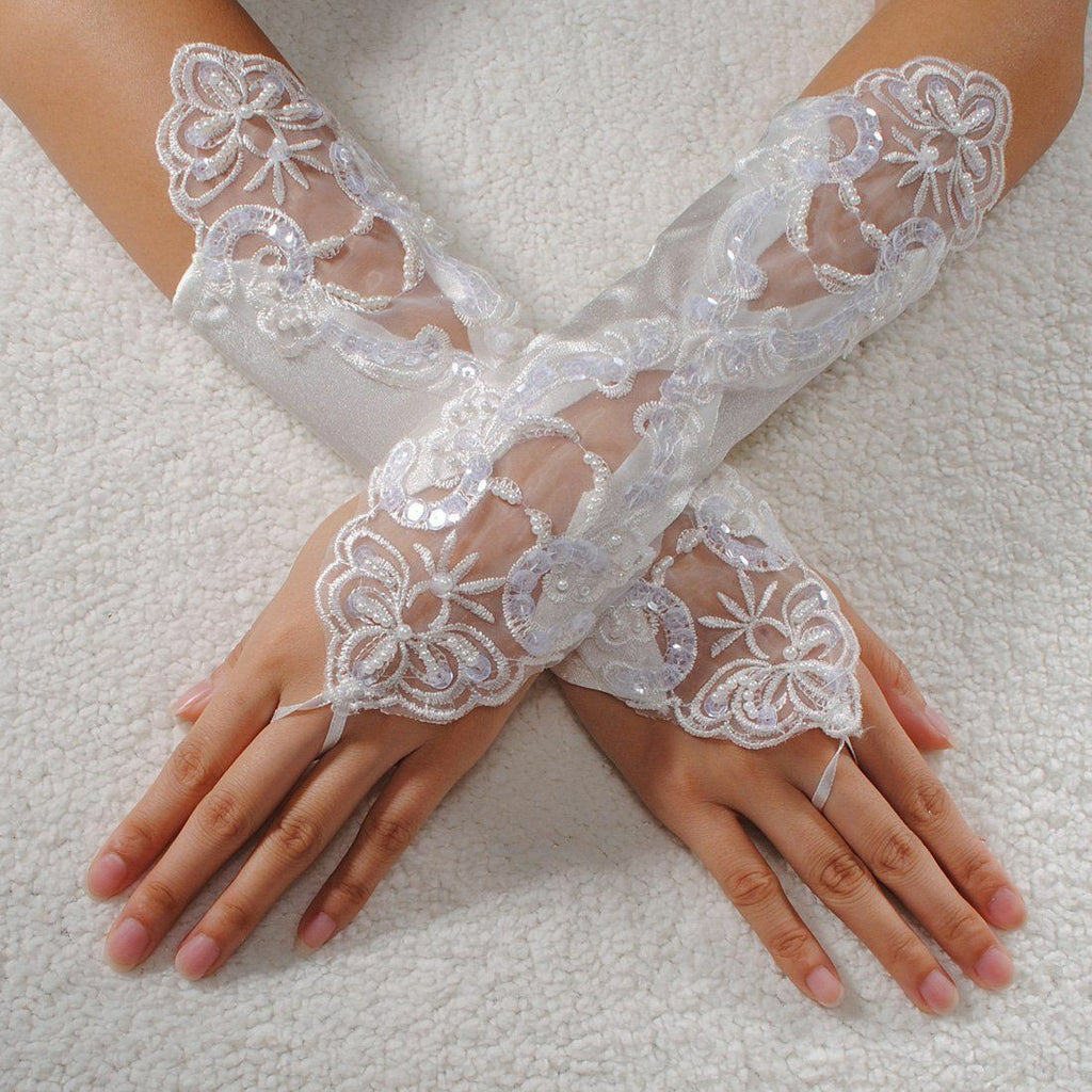 Sexy WHITE Fingerless lacy Gloves-Bridal Fingerless  Wedding Accessory Lace