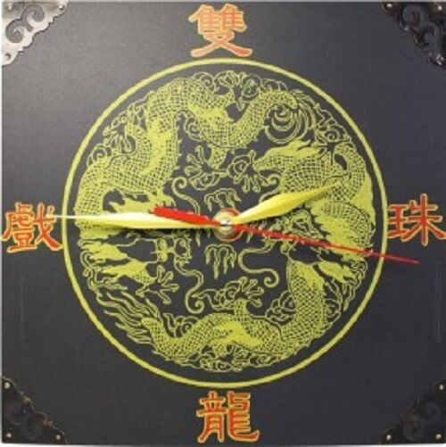 Funky Feng Shui Clocks-small -2 DragonsPlayBall-HappyTimes 2x15x15cm-boxed