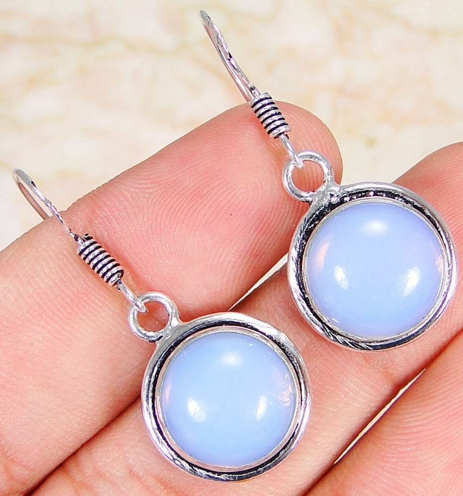 Opalite & 925 Silver Handmade Stunning drop Earrings 35mm & gift-box