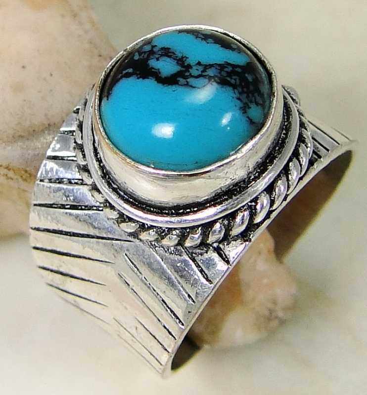 Turquoise & 925 Silver Handmade Elegants Ring Size 7.5 & gift-box