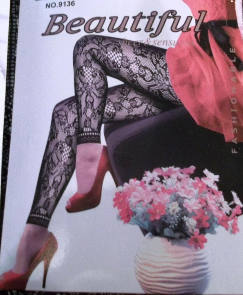 FUNKY black fishnet footless Tights with a Difference ROSE Pattern Women Tights