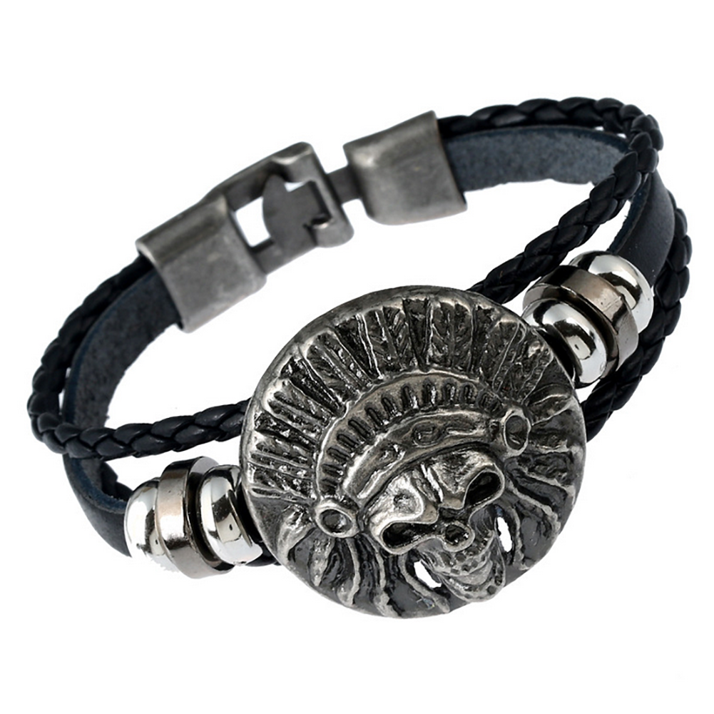 Men's Punk Skull Spider Death Leather Bracelet Rocker Buckle Bracelet Jewellery2