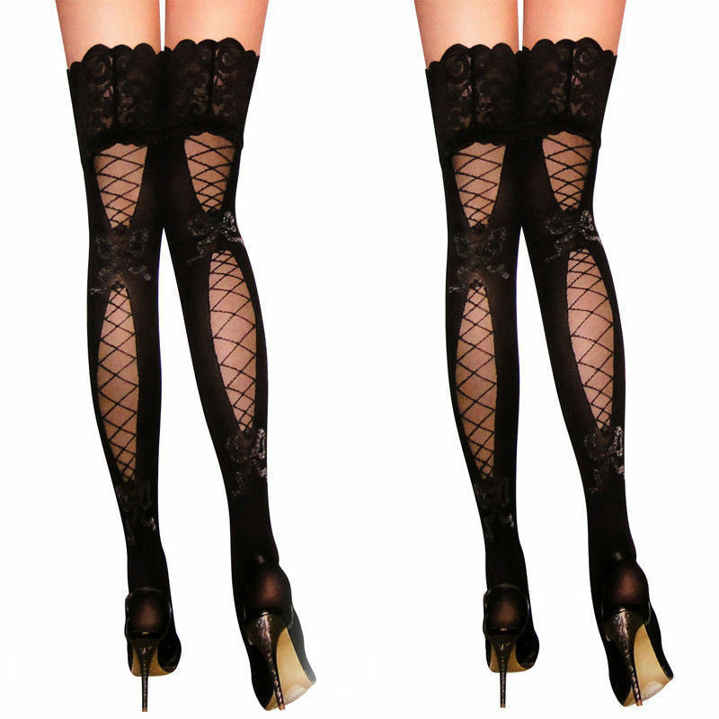 Fashion Womens Sexy Lace Jacquard Bow Hollow Thigh High Stockings Pantyhose