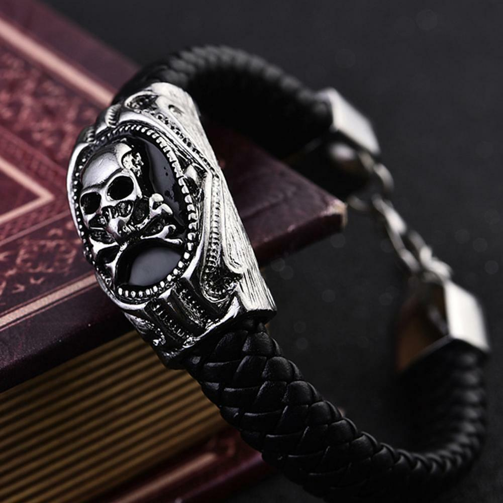 funky Men's Titanium Steel Skull Punk Bangle Bracelet Leather Wristband Jewelry