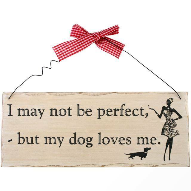 I May Not Be Perfect Hanging Sign- H:10.00cm x W:25.00cm x D:0.70cm.WOODEN
