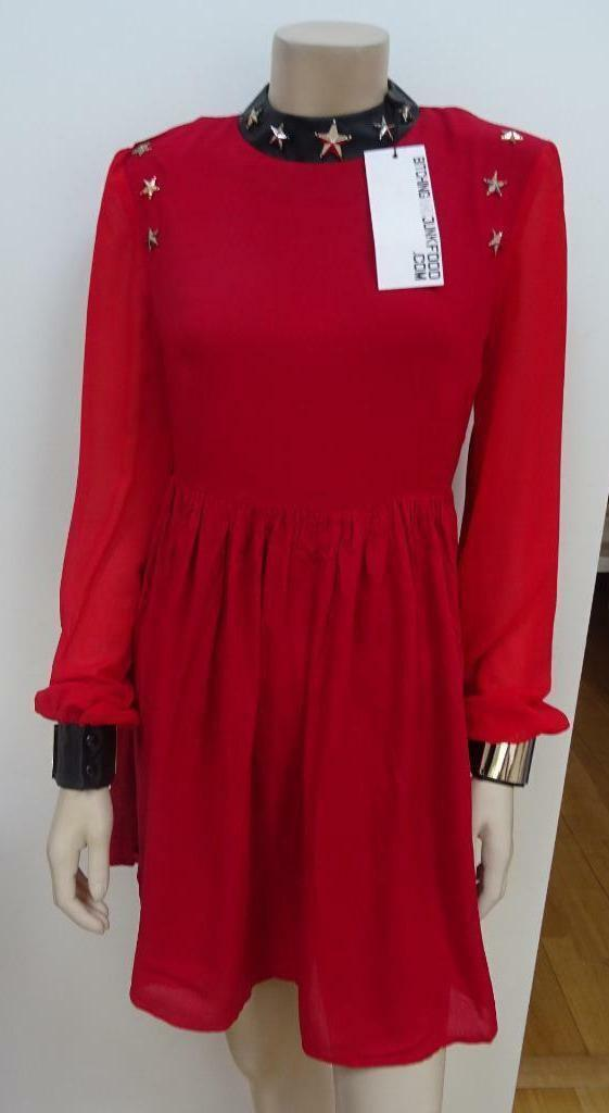 BITCHING & JUNKFOOD ladies red star faux leather trim long sleeve dress UK 8 10