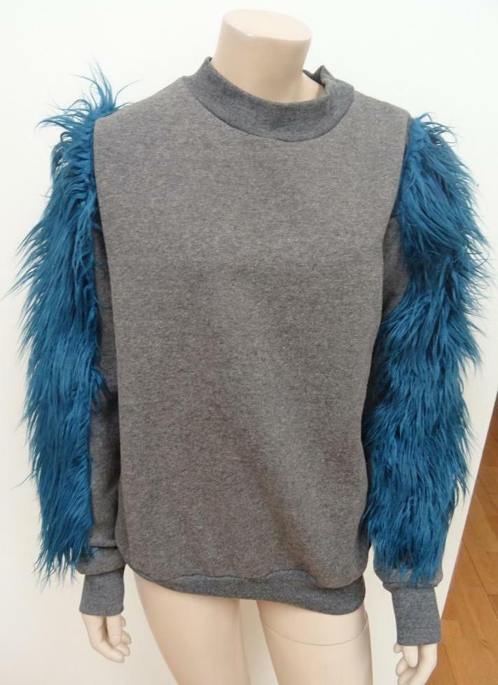 BITCHING & JUNKFOOD ladies grey blue faux furry sweater jumper custom UK 8 - 10