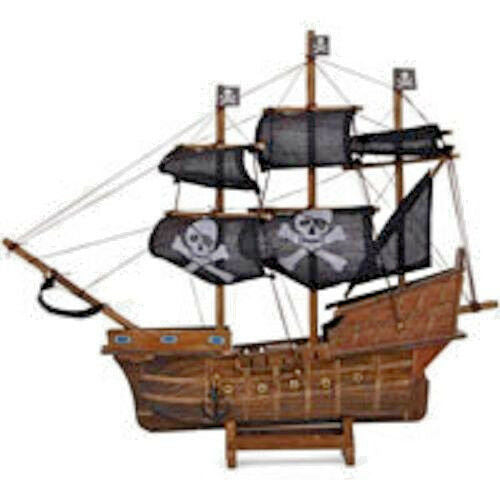 PERFECT GIFT-Wooden Pirate Ship-Land Ahoy Approx 29cm tall by 32cm across