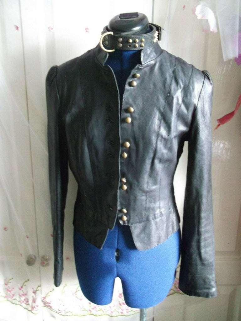 Vintage OASIS BLACK leather biker/STEAMpunk/hip jacket.size10 MILITARY STYLE