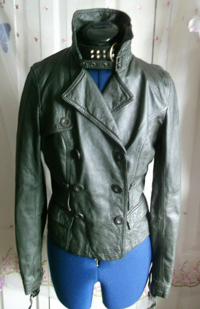 Vintage green leather biker/punk/hip jacket.size10uk.button front,lined.Classic