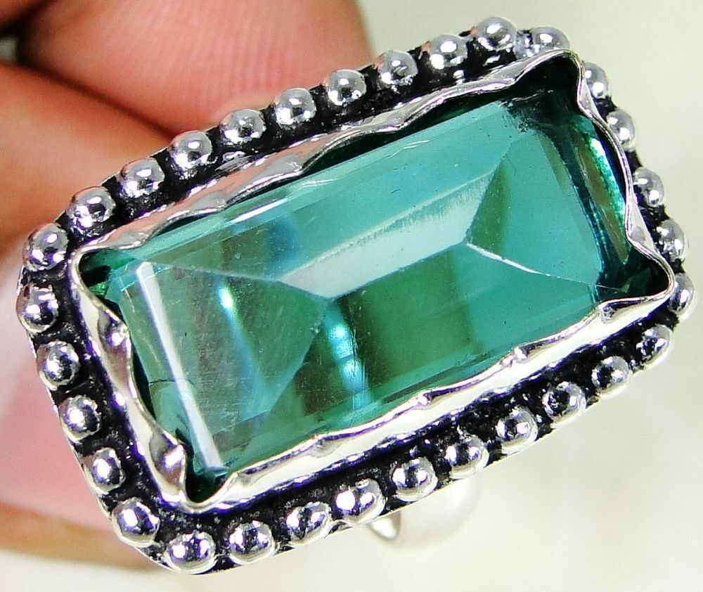 Tsavorite Quartz & 925 Silver Handmade Lovely Ring Size Q & gift-box