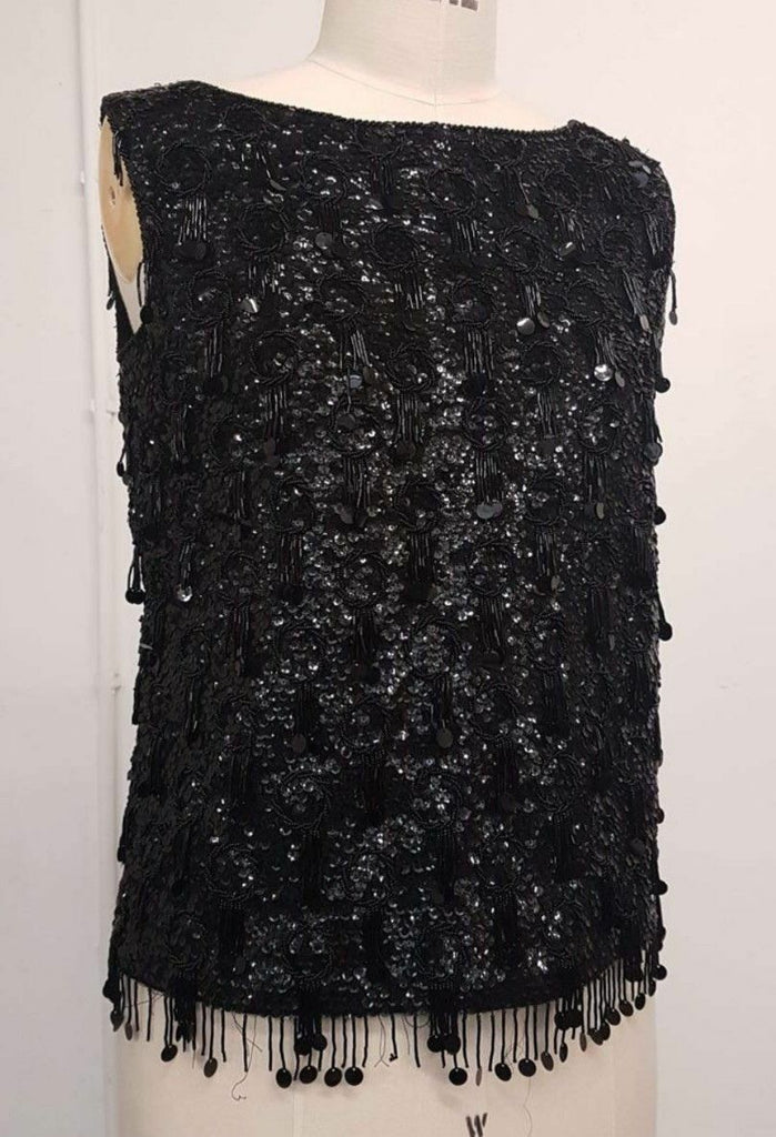 Gorgeous Vintage 1960s sex kitten black  Beaded Sequin Top Size 36 bust