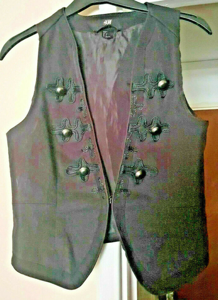 stunning black braided Womens gothic waistcoat.size small. H&M
