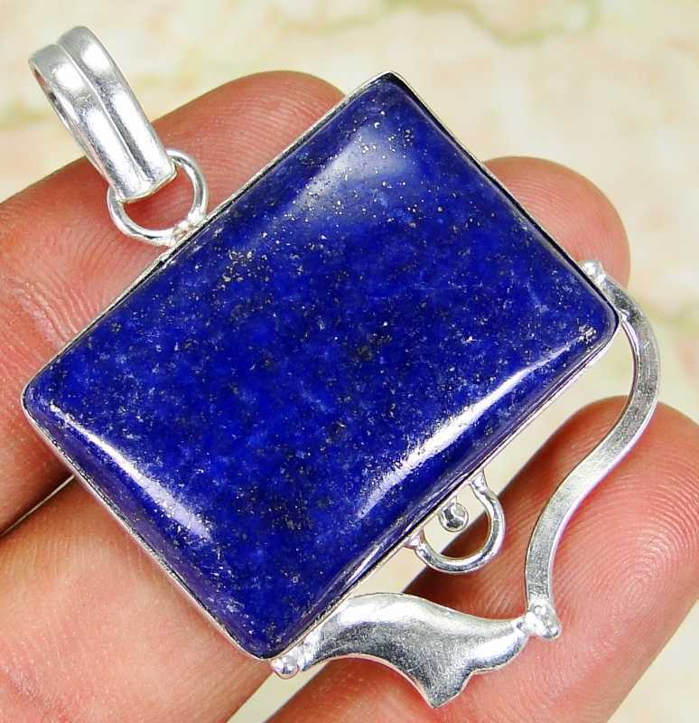 Lapis Lazuli & 925 Silver Handmade Lovely Pendant 46mm & gift-box&silver chain