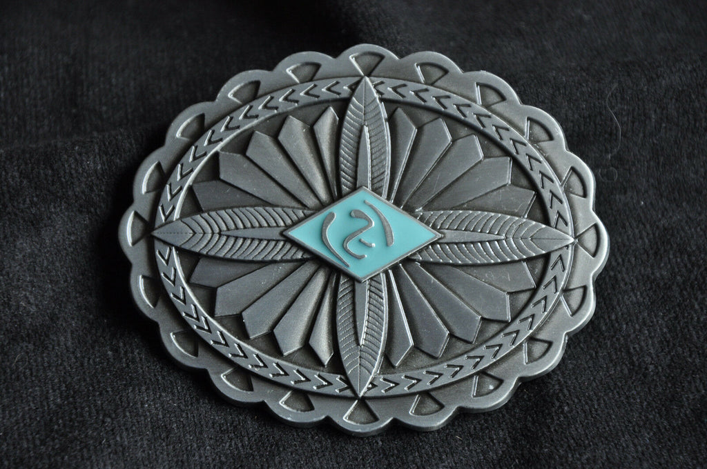 Funky Vintage Silver Celtic Feather Cross Concho  Cowboy Belt Buckle