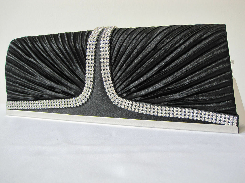 NEW BLACK SATIN RUFFLE diamante 2 SIDE FRONT EVE BAG/Clutch/Purse/Party Bridal