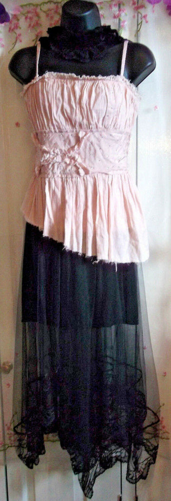 Ladies Size 10 Dusky Pink Corset Style Top From TOPSHOP,diamante/ruffle detail