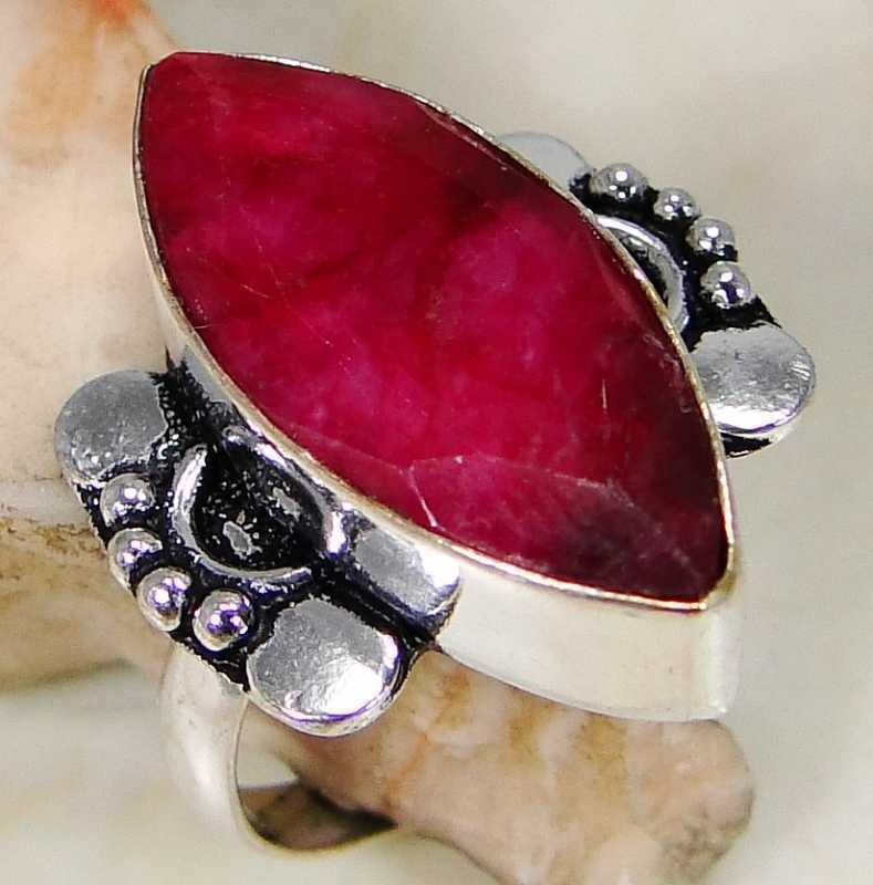 FUNKY Ruby & 925 Silver Handmade Fashionable Ring Size P B13-5391