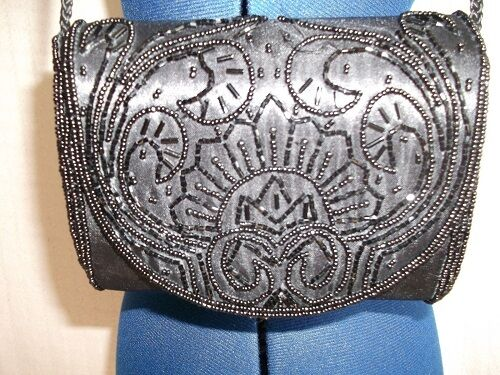 gorgeous VIntage Glam black satin shoulder/clutch bag-beadwork.fab gift item