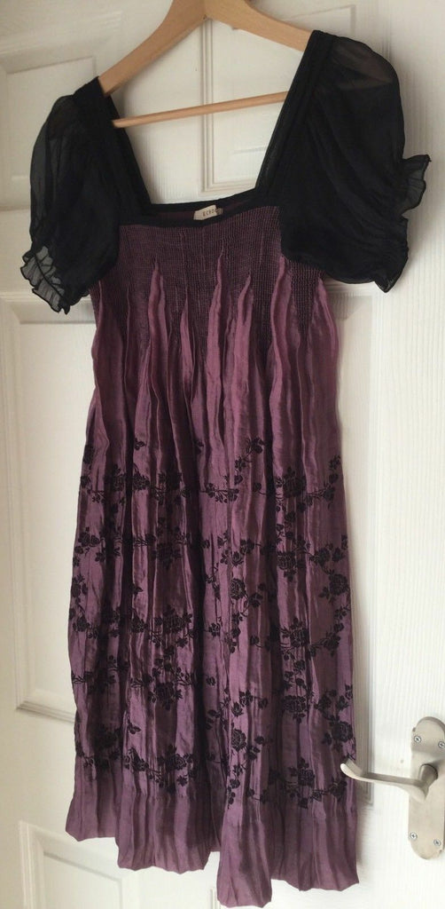 Gorgeous Purple/black embroiderery Echo Blush Pink And Black Smock Dress.Size10-