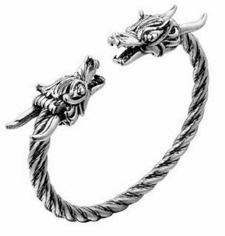 Adjustable Norse Viking Wolf Head Silver Open Bracelet Dragon Fenrir Bangle