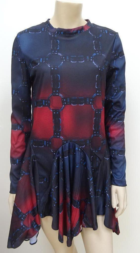 BITCHING & JUNKFOOD ladies tunic long sleeve bondage print dress MEDIUM UK 10
