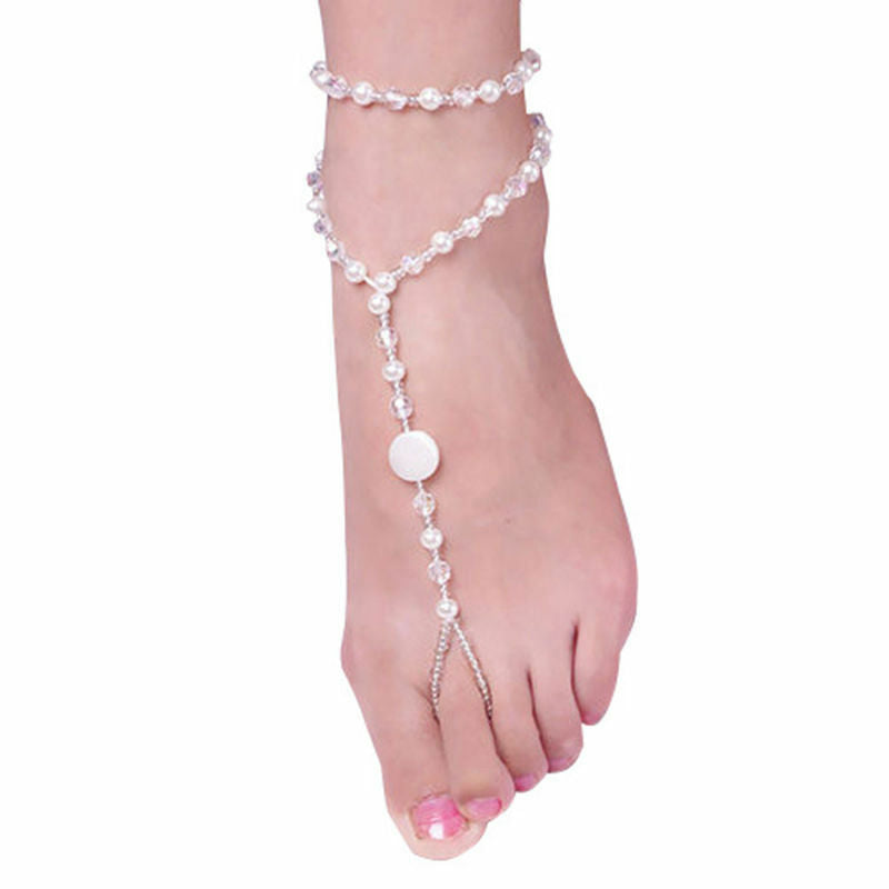 1PC Fashion Foot Anklet Chain Barefoot Sandal Beach Pearl Bracelet Jewelry Gift