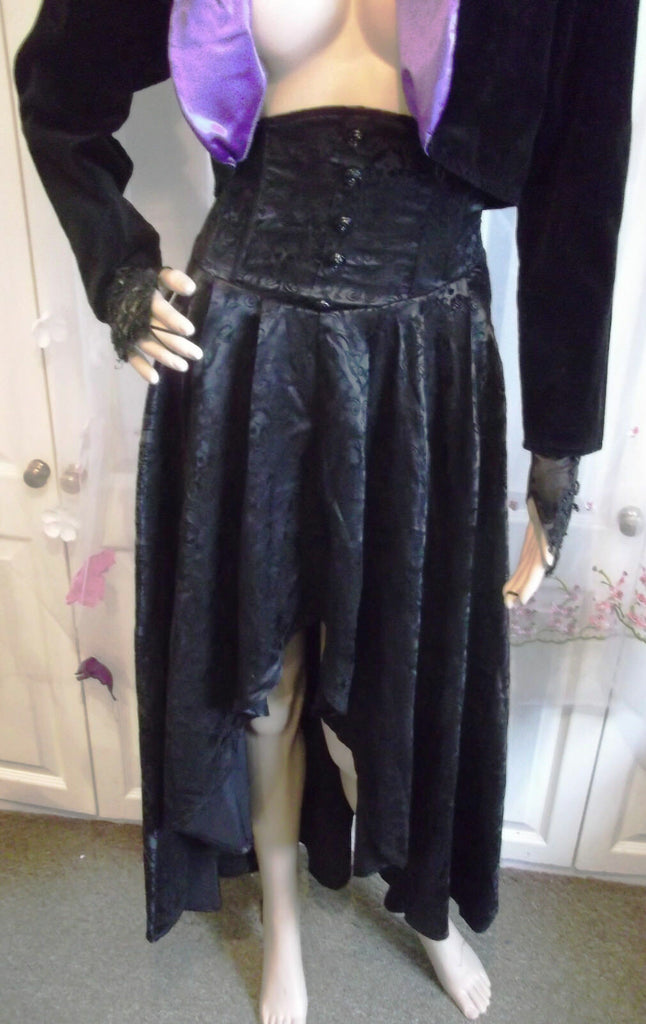 full length stunning black gothic skirt Whitby festival emo punk skulls pagan
