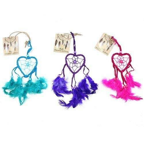Funky  small Bali Dreamcatchers-Small Heart-Turq/Pink/Purp -cars/homes/caravans