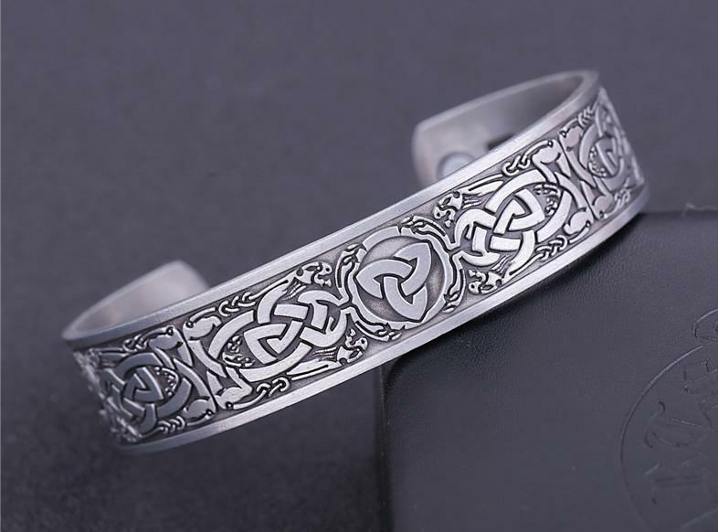 Antique Silver & Bronze Health Care Magnetic Bangle Norse Slavic Snake Totem