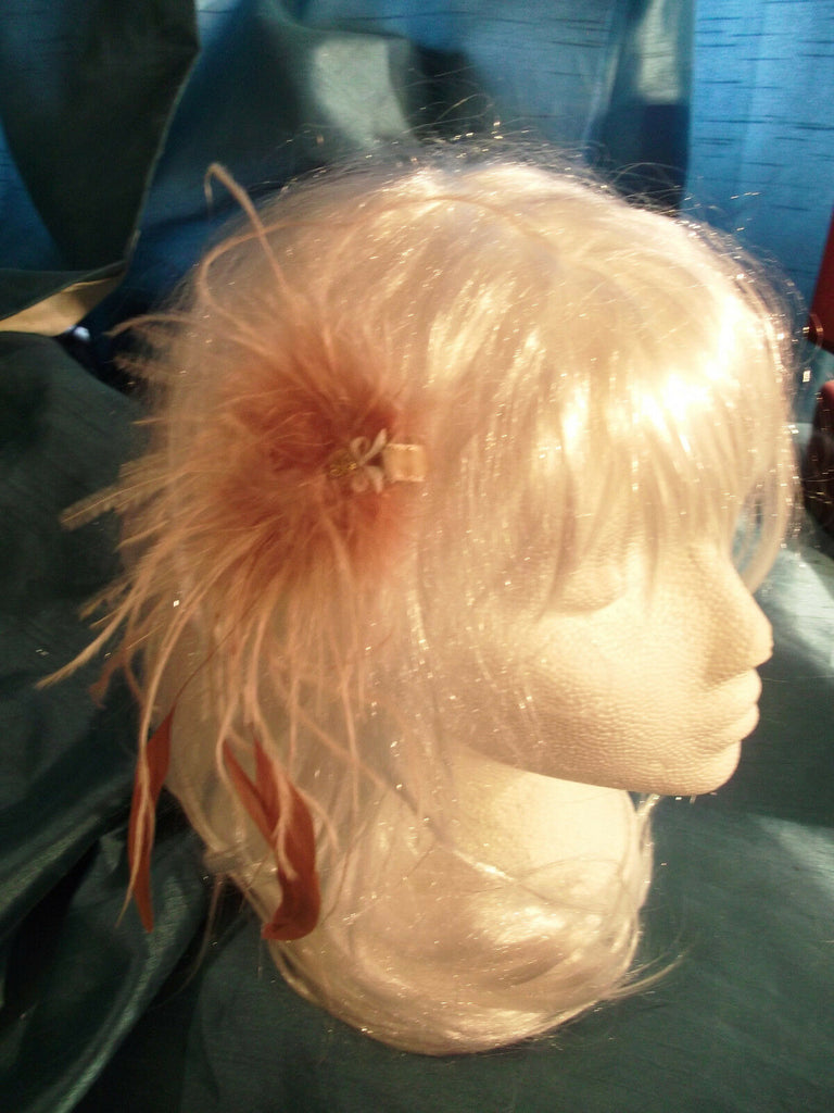 gorgeous peach handmade feather fascinator-comb/slide-special occasions5