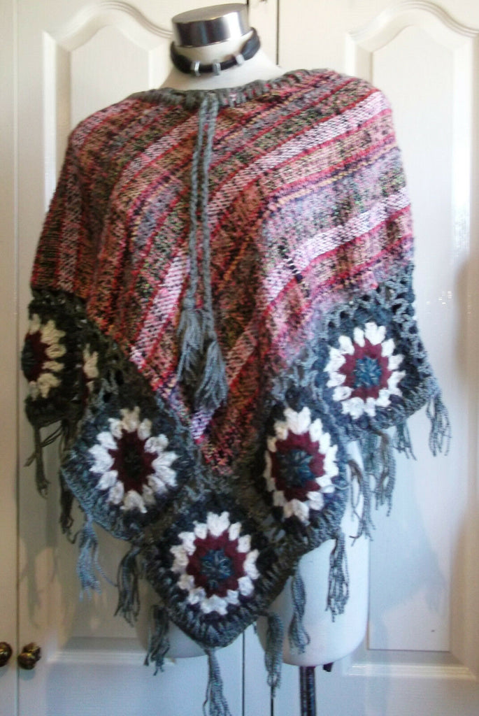 gorgeous hand-made  woollen tassled poncho with loose ends-size medium