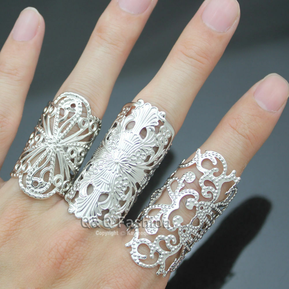 Ornate Set of 3 Silver Cross Filigree Lace Flower Cut Out Aztec Stack Band Ring