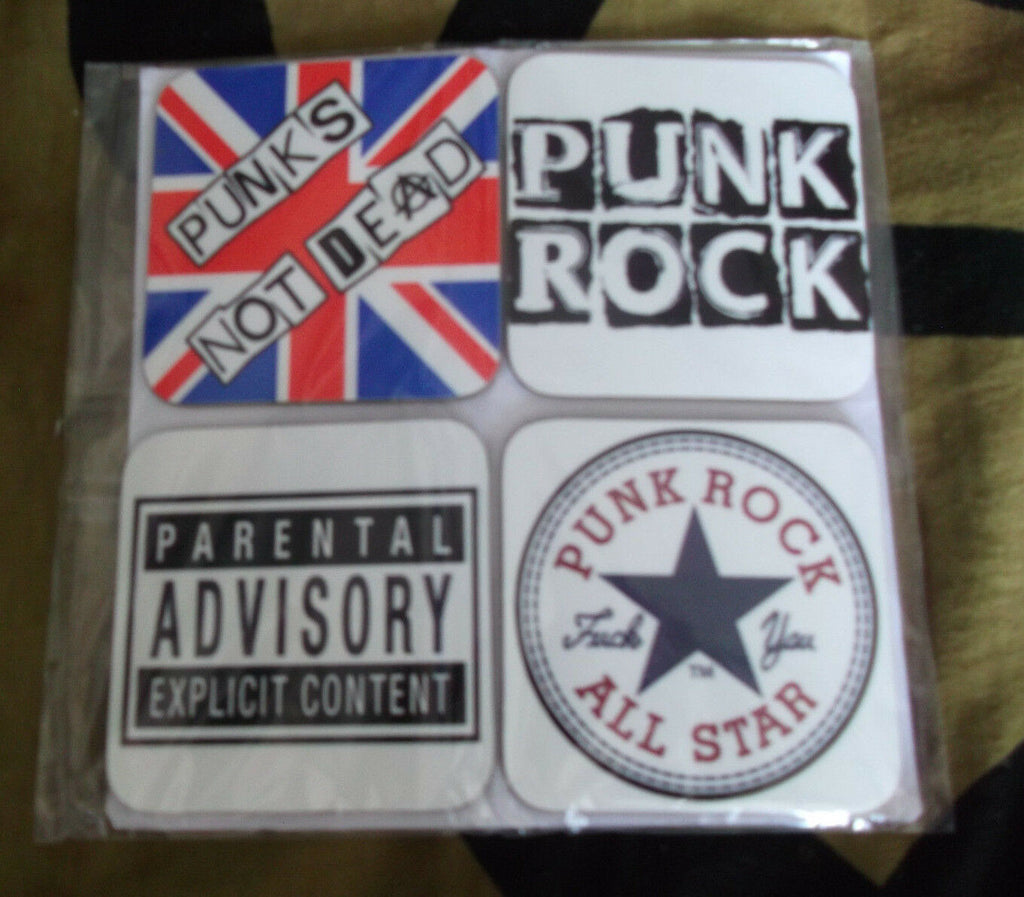 4 Set - Punk Rock Music Drinks Coaster - punk not dead/Anarchy Sign Fun Gift