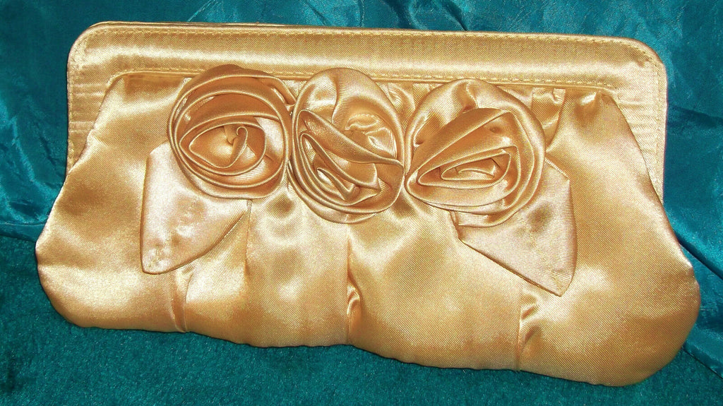 FABULOUS EVE BAG-Gold satin flower design clutch bag with silver strap
