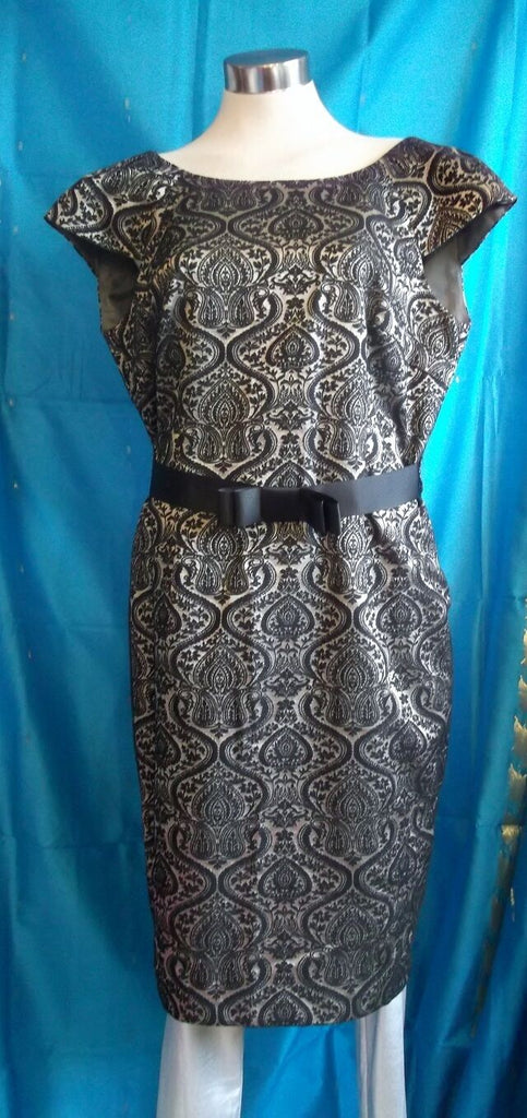 Next size14, exquisite gold&black dress, lined,waist ribbon tie,mid calf,
