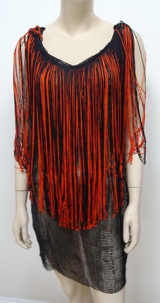 FUNKY PUNK ROCK GOTH ladies fishnet mesh tassel top ONE SIZE UK 10 12 14