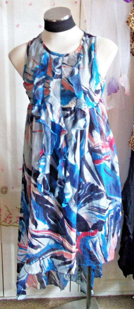 Boho/Festi/Beach/ blue Anwol crinkle sundress,cotton,size 10 flouncy,lined.NEW.