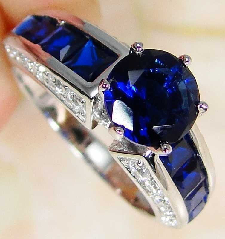 London Blue Topaz & 925 Silver Handmade Unusual Ring Size L & gift-box