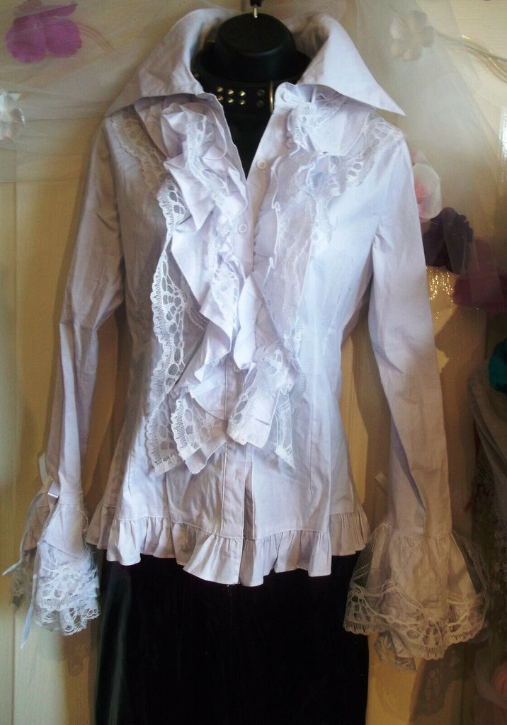 stunning white gothic lolita ruffled shirt size large,layer lacy flouncy sleeve