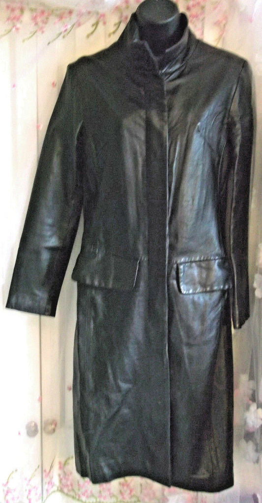 MUST SEE LONG SOFT BLACK LEATHER SLIM COAT Goth Matrix Style size 8 (8/10) VGC