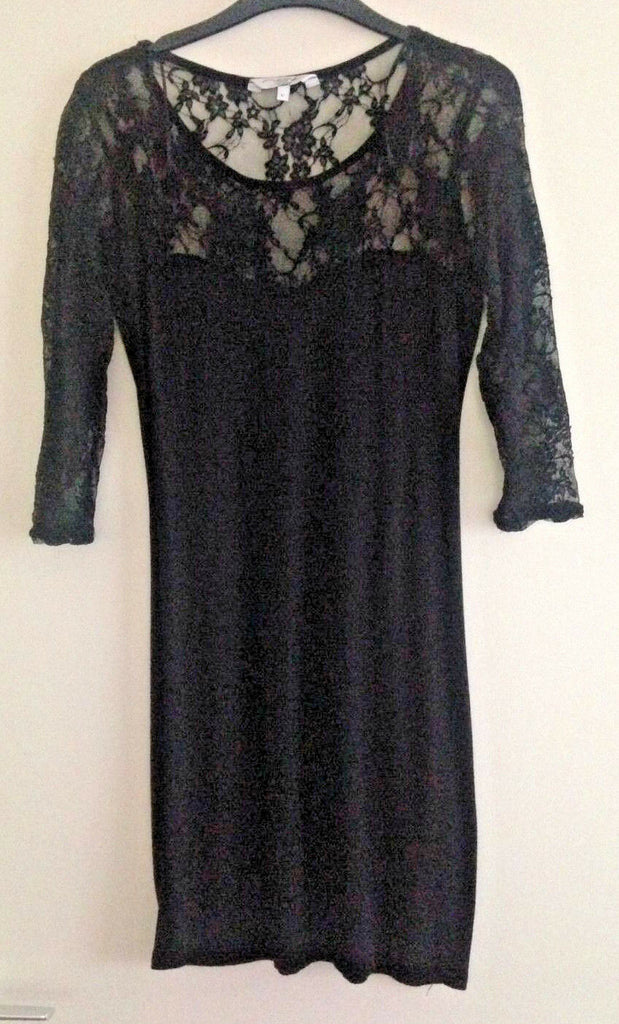 Sexy Black Lace Bodycon Dress Size 12  Goth Punk Horror Occult Witch